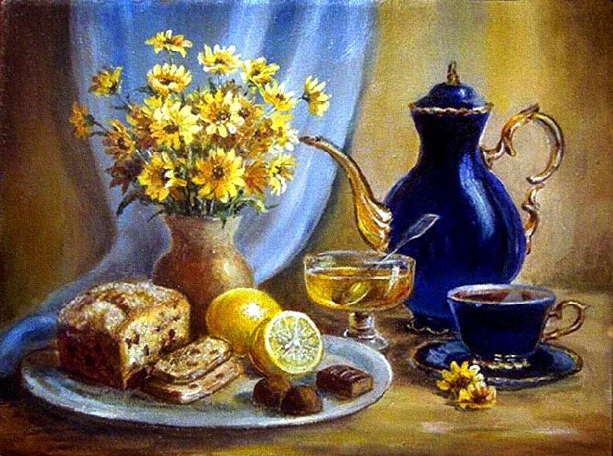 Натюрморты с чашкой чая