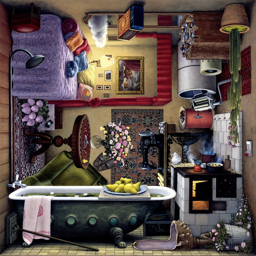 strange room, with no force of gravity, or, with gravity all around, on all walls, cluttered with furniters and middle-class utensils