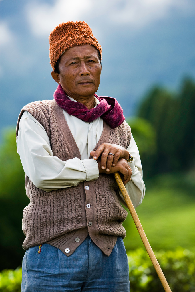 The supervisor of the tea garden labourers poses for a photograph at the organic tea garden of Temi Tea Estate in India's Himalayan state of Sikkim. India's tea export fell 14 percent in the first eight months of 2009 as low output after a severe drought hit production earlier this year, a senior Tea Board official said on Friday.